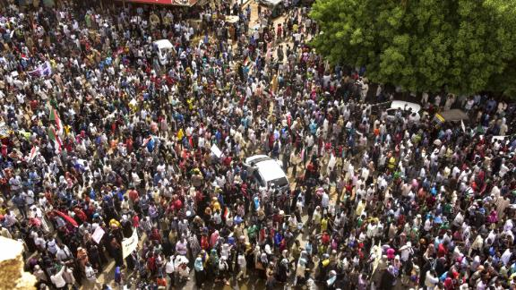 Sudanese protesters march in a mass demonstration against the country's ruling generals in the capital's twin city of Omdurman on June 30.
