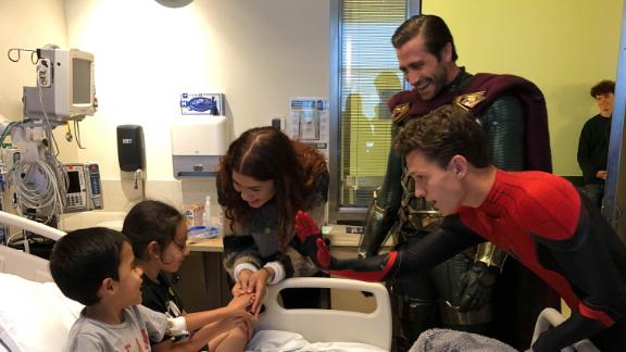 Zendaya, Jake Gyllenhaal  and Tom Holland at visit patients at Children
