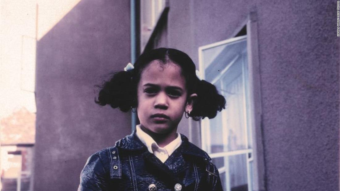 "Harris tweeted this photo of her as a child after referencing it during a Democratic debate in June 2019. During the debate, <a href=""https://www.cnn.com/2019/06/28/politics/biden-vs-harris-democratic-debate/index.html"" target=""_blank"">she confronted Joe Biden</a> over his opposition many years ago to the federal government mandating busing to integrate schools. ""There was a little girl in California who was bussed to school,"" <a href=""https://twitter.com/KamalaHarris/status/1144427976609734658"" target=""_blank"">she tweeted.</a> ""That little girl was me."""