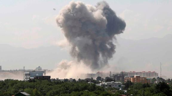 Smoke rises after an explosion in Kabul, Afghanistan, Monday, July 1, 2019. A powerful bomb blast rocked the Afghan capital early Monday, rattling windows, sending smoke billowing from Kabul