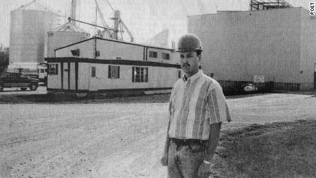 Jeff Broin stands in front of the ethanol plant in Scotland, South Dakota.