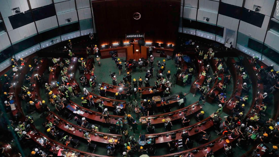 The meeting hall of the Legislative Council is taken over by demonstrators on July 1.