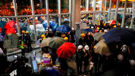 Protesters leave path of destruction in Hong Kong