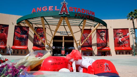 A memorial is set up in front of Angel Stadium for Tyler Skaggs.