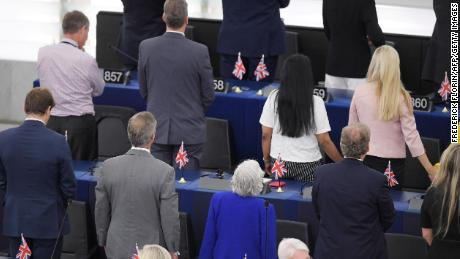 "Brexit Party leader Nigel Farage had earlier promised his MEPs would be ""cheerfully defiant."""