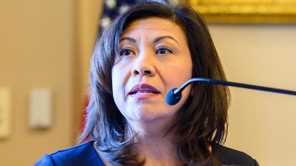 """WASHINGTON, DC, UNITED STATES - 2019/01/30: United States Representative Norma Torres (D-CA) seen speaking at the Center for Strategic and International Studies (CSIS) event on """"Future of the Rule of Law, CICIG, and Justice Reform in Guatemala"""" held in the Rayburn House Office Building in Washington, DC. (Photo by Michael Brochstein/SOPA Images/LightRocket via Getty Images)"""