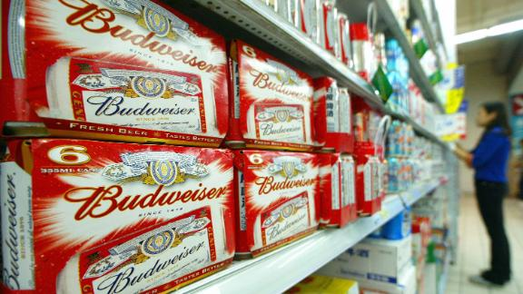SHANGHAI, CHINA:  Packs of US brand Budweiser beers are displayed in a Shanghai