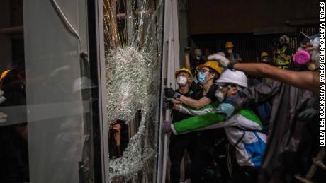 Protesters are storming and partially sacking Hong Kong law.