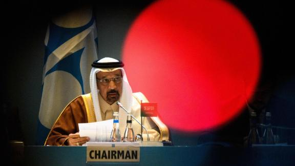 Saudi Arabia's Energy Minister Khalid al-Falih chairs the 13th meeting of the Joint Ministerial Monitoring Committee (JMMC) of OPEC and non- OPEC countries in Baku on March 18, 2019. (Photo by Mladen ANTONOV / AFP)        (Photo credit should read MLADEN ANTONOV/AFP/Getty Images)