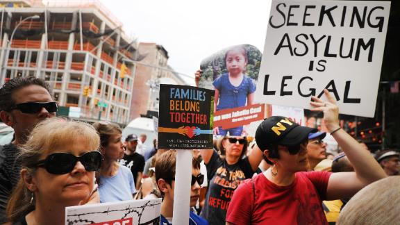"""NEW YORK, NY - JULY 02:  Hundreds of people gather in front of a church in Manhattan's East Village to protest the migrant detention facilities on July 02, 2019 in New York City. Across the country tens of thousands of people are gathering for """"Close the Camps' protests to voice their anger at the Trump administration's treatment of migrants at the U.S. and Mexican border. (Photo by Spencer Platt/Getty Images)"""