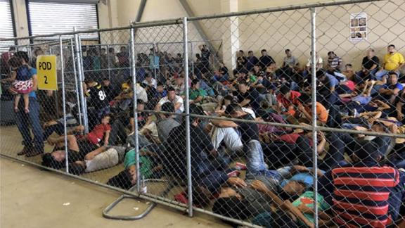 Overcrowding of families observed by OIG on June 10, 2019, at Border PatrolÕsMcAllen, TX, Station. Source: OIG