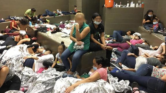 Overcrowding of families observed by OIG on June 11, 2019, at Border Patrol