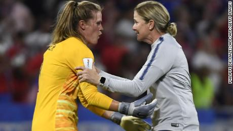 US coach Jill Ellis, right, celebrates with goalkeeper Alyssa Naeher.