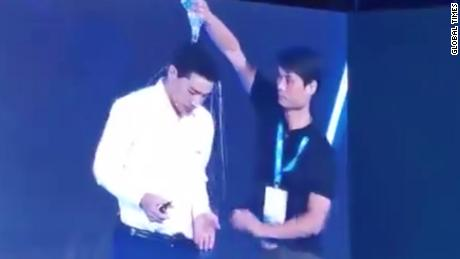 Baidu CEO Robin Li doused in water at company event