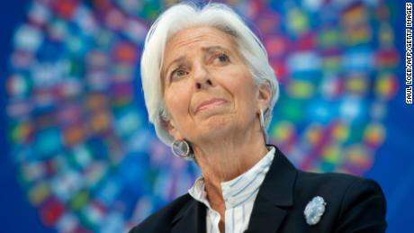 "IMF Managing Director Christine Lagarde speaks about ""Bretton Woods After 75: Rethinking International Cooperation"", during the IMF - World Bank Spring Meetings at International Monetary Fund Headquarters in Washington, DC, April 10, 2019."