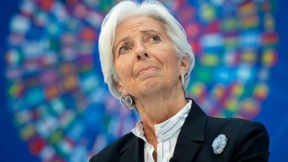 """IMF Managing Director Christine Lagarde speaks about """"Bretton Woods After 75: Rethinking International Cooperation"""", during the IMF - World Bank Spring Meetings at International Monetary Fund Headquarters in Washington, DC, April 10, 2019."""
