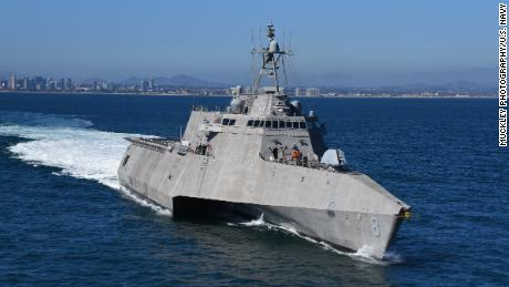 The USS Montgomery coastal battleship leaves the San Diego Naval Base in 2018.