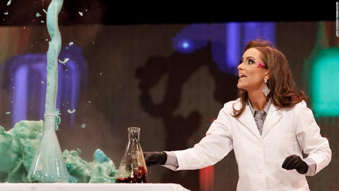The newly crowned Miss Virginia did a science experiment for her talent performance