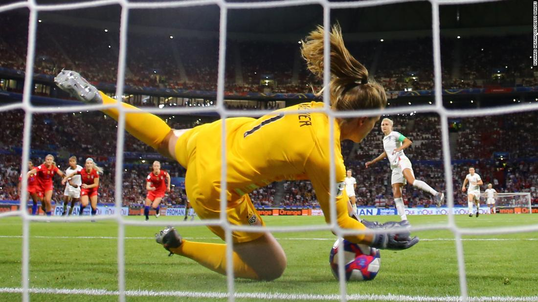 "US goalkeeper Alyssa Naeher <a href=""https://www.cnn.com/2019/07/02/us/alyssa-naeher-uswnt-trnd/index.html"" target=""_blank"">saves a penalty</a> by England's Steph Houghton late in the semifinal. The goal preserved the Americans' 2-1 lead."