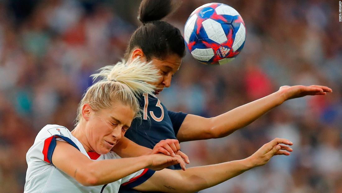 US defender Abby Dahlkemper, left, and France's Valerie Gauvin battle for a header. Many experts considered France to be the Americans' biggest challenger in this tournament.