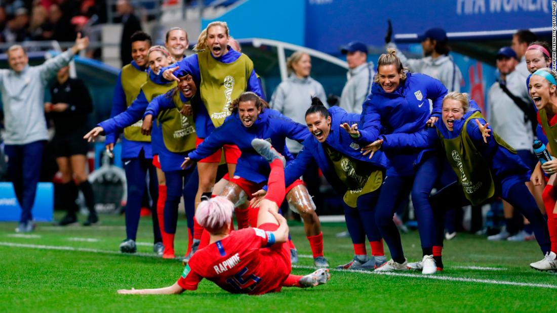 "Rapinoe celebrates her goal during the team's 13-0 rout over Thailand. It was the largest win in World Cup history for any team, men or women. But<a href=""https://www.cnn.com/2019/06/12/us/uswnt-world-cup-sportsmanship-trnd/index.html"" target=""_blank""> the team was criticized</a> for the way it celebrated many of its late goals."