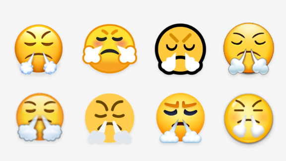 "The ""truimph"" emoji renders differently on varying platforms."