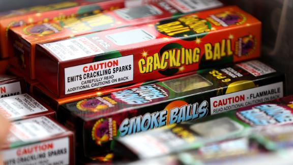 Fireworks are displayed at the San Bruno Rotary Club fireworks stand on June 30, 2017 in San Bruno, California.