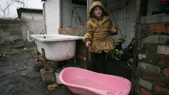 Sofia's family living in eastern Ukraine is collecting water in bathtubs, UNICEF said.