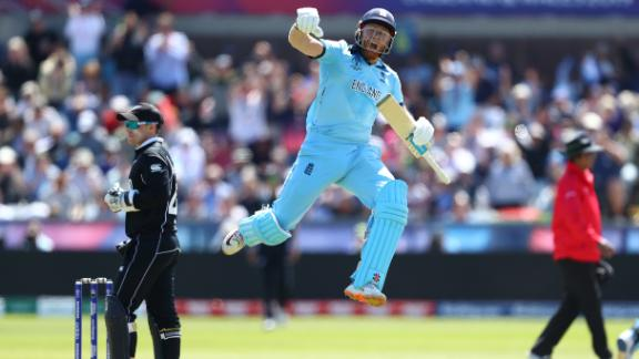 CHESTER-LE-STREET, ENGLAND - JULY 03: Jonny Bairstow of England celebrates reaching his century during the Group Stage match of the ICC Cricket World Cup 2019 between England and New Zealand at Emirates Riverside on July 03, 2019 in Chester-le-Street, England (Photo by Michael Steele/Getty Images)