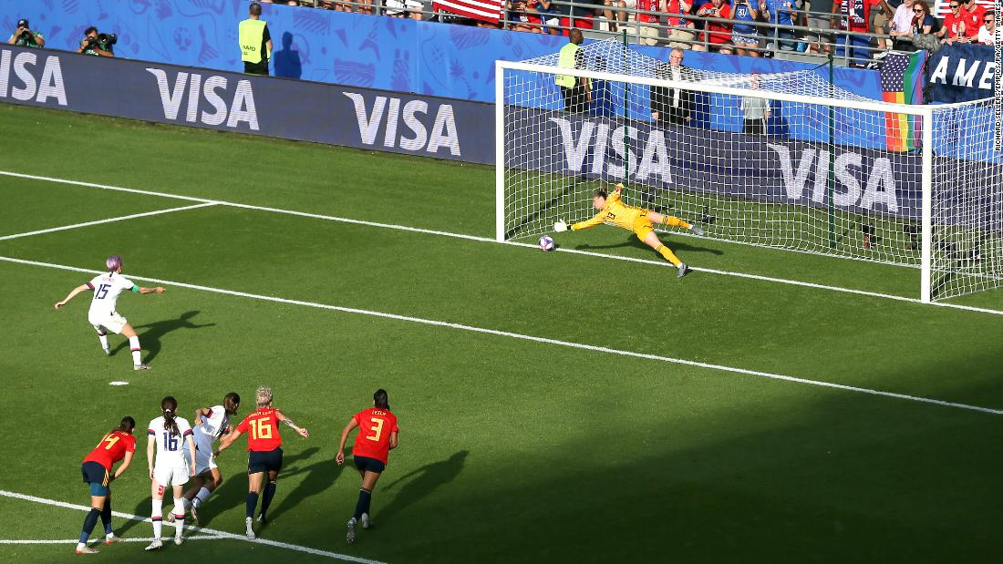 "Rapinoe slots home a goal from the penalty spot during <a href=""https://www.cnn.com/2019/06/24/football/usa-spain-womens-world-cup-last-16-spt-intl/index.html"" target=""_blank"">the Americans' 2-1 victory over Spain</a> in the round of 16. Rapinoe again had both goals. Both were off penalties."