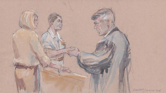 A courtroom sketch completed Wednesday that shows, from left to right, Andrea Gallagher, Special Operations Chief Eddie Gallagher, and Navy Judge Capt. Aaron Rugh.