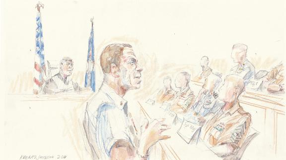 A courtroom sketch shows Special Operations Chief Eddie Gallagher addressing the jury on Wednesday.