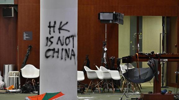 Graffiti and umbrellas seen outside the main chamber of the Legislative Council.