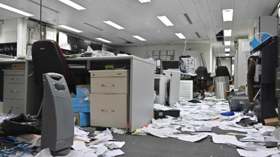 Papers and items are seen scattered across a control room during a media tour of the Legislative Council.