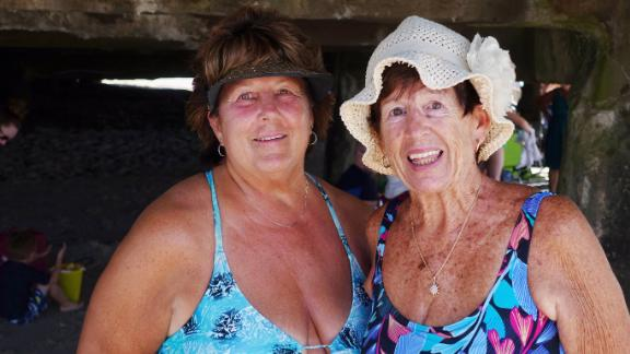 Cheryl Mehl and her mom, Janice Tyson, enjoy the day without any worries about Miss May.