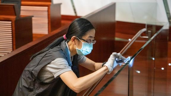 Hong Kong police continue their investigation at Legislative Council in Hong Kong after protesters stormed the building.