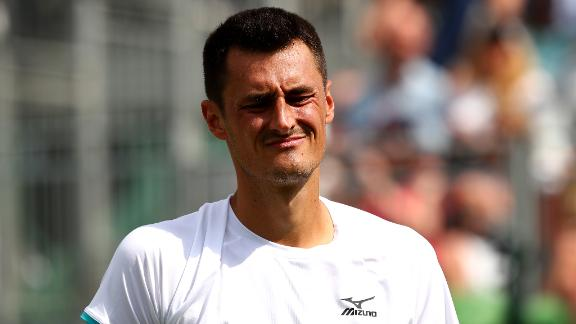 Bernard Tomic during his first round match against Jo-Wilfred Tsonga.