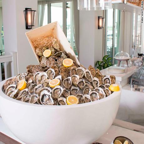 Oysters are piled high for the Traiteur brunch at the Park Hyatt Dubai.