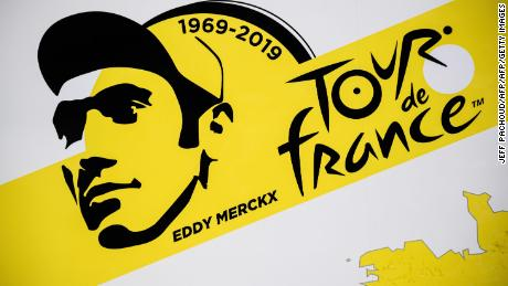 A designed portrait of Eddy Merckx features on Tour de France posters, with the start in his native Belgium in honor of his achievements with this year the 50th anniversary of his first Tour win in 1969.