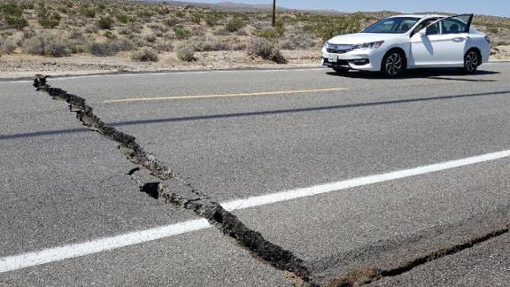 A crack in the road is seen near Ridgecrest , California on Thursday, July 4, after an earthquake in the area.