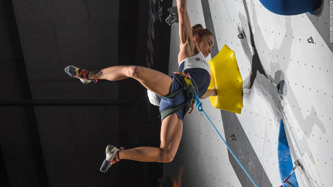 "Kim competes in Innsbruck, Austria, in 2018. Despite an illustrious career Kim says she's ""physically, not so gifted for climbing"" given her short stature."