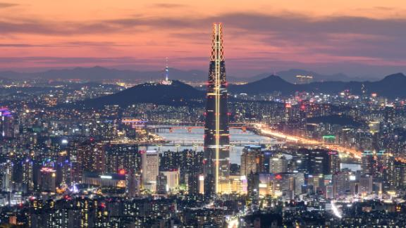 The Lotte World Tower, the tallest building in Seoul, stands 555 meters high. Kim scaled the 123-story building in 2017.