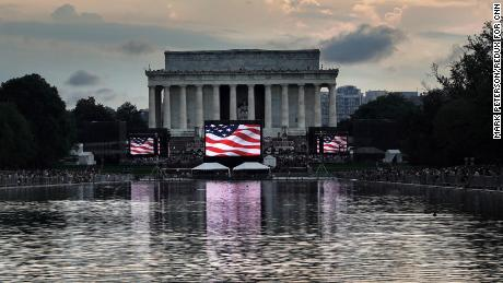 "A scenic view of the Lincoln Memorial ahead of the planned ""Salute to America"" on Thursday, July 4th."
