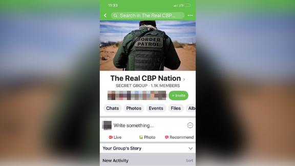 An image of a secret CBP facebook group.  CNN obscured parts of this image to remove identifying information.