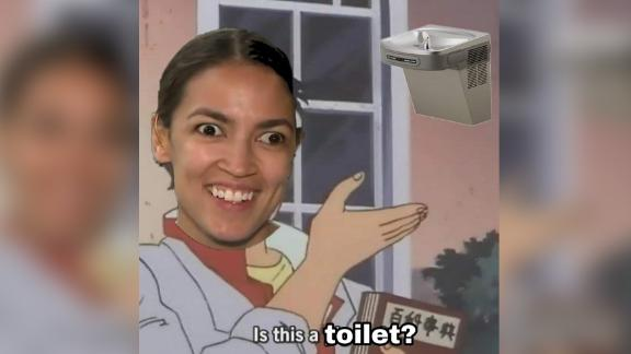 A meme of Rep. Alexandria Ocasio-Cortez posted in a secret group said to be for Customs and Border Protection employees. CNN has blurred the image and removed identifying material.