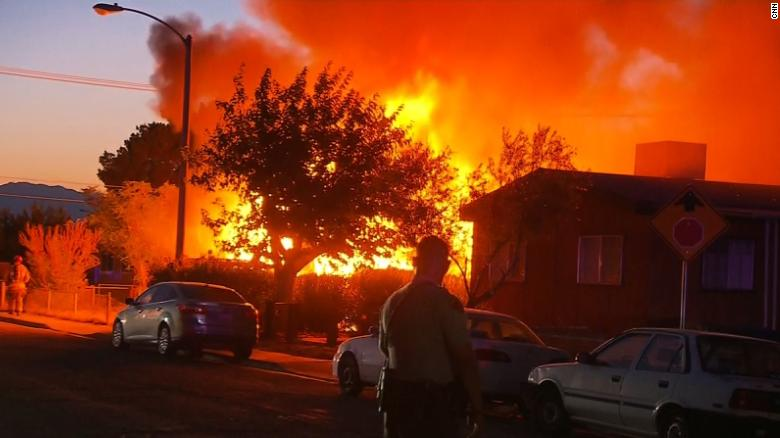 House fire in Ridgecrest, California moments after a earthquake struck the area on Friday.