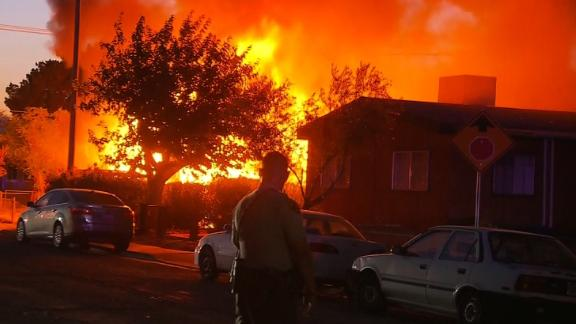 Fire engulfs a house  in Ridgecrest, California, moments after an earthquake struck the area on Friday.