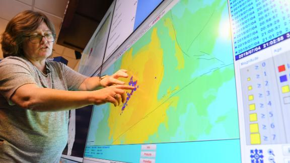 Seismologist Lucy Jones speaks at the Caltech Seismological Laboratory following the 6.4 Searles earthquake near Ridgecrest.