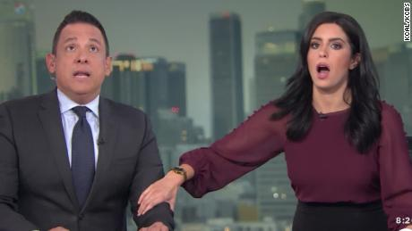 Terrifying moment anchors react to earthquake on set