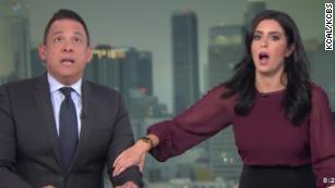 Terrifying moment anchors react to earthquake on set